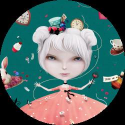 girl magic blue background circle